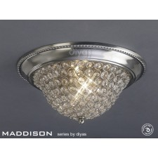 Diyas Paloma Ceiling 3 Light Medium Satin Nickel/Crystal