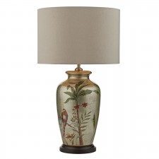 Makiti Table Lamp Gold Floral Bird Base Only