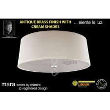 Mara Ceiling 4 Light Antique Brass/Cream