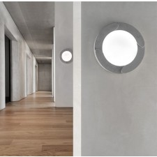 Memphis Flush Wall Light - Grey, White Glass