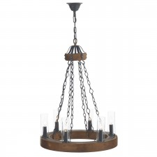 Minstrel Pendant Light - 6 Light, Dark Wood