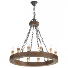 Minstrel Pendant Light - 12 Light, Dark Wood