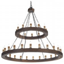 Minstrel 2 Tier Pendant Light - 36 Light, Dark Wood