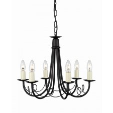 Elstead MN6 BLACK Minster 6 - Light Chandelier Black