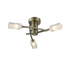 Morgan 3 Light Semi Flush Antique Brass