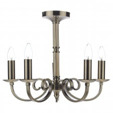Murray Dual Mount Pendant Light - 5 Light, Antique Brass