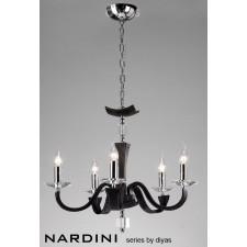 Diyas Nardini Pendant 5 Light Polished Chrome/Black Faux Leather/Crystal
