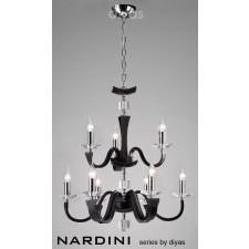 Diyas Nardini Pendant 9 Light Polished Chrome/Black Faux Leather/Crystal