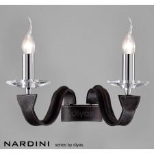 Diyas Nardini Wall 2 Light Polished Chrome/Dark Brown Faux Leather/Crystal