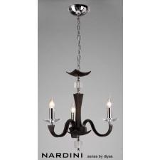 Diyas Nardini Pendant 3 Light Polished Chrome/Dark Brown Faux Leather/Crystal