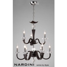 Diyas Nardini Pendant 9 Light Polished Chrome dark Brown Faux Leather/Crystal