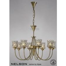 Diyas Nelson 8 Light Pendant Antique Brass/Crystal
