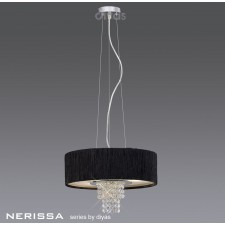 Diyas Nerissa Pendant 4 Light Polished Chrome/Crystal With Black Shade