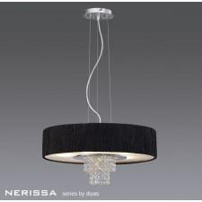 Diyas Nerissa Pendant 6 Light Polished Chrome/Crystal With Black Shade