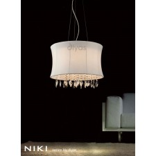 Diyas Niki Pendant 4 Light Polished Chrome/Crystal With White Shade