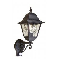 Elstead NR1 PIR BLACK Norfolk Up Wall Lantern with PIR