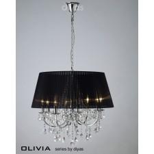 Diyas Olivia Pendant 8 Light Polished Chrome/Crystal With Black Shade