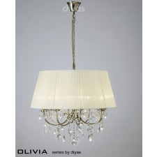 Diyas Olivia Pendant 8 Light Antique Brass/Crystal With Cream Shade