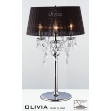 Diyas Olivia Table Lamp 3 Light Polished Chrome/Crystal With Black Shade