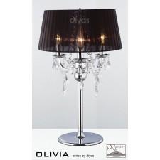 Diyas Olivia Table Lamp 3 Light Polished Chrome/Crystal With Black Shade
