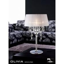 Diyas Olivia Table Lamp 3 Light Polished Chrome/Crystal With White Shade