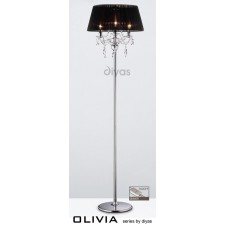 Diyas Olivia Floor Lamp 3 Light Polished Chrome/Crystal With Black Shade