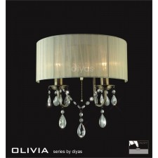 Diyas Olivia Wall Lamp 2 Light Antique Brass/Crystal With Cream Shade