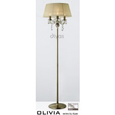 Diyas Olivia Floor Lamp 3 Light Antique Brass/Crystal With Cream Shade