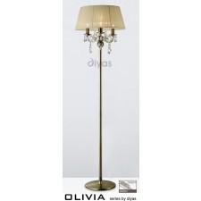 Diyas Olivia Floor Lamp 3 Light Antique Brass/Crystal With Cream Shade