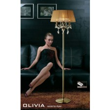 Diyas Olivia Floor Lamp 3 Light Antique Brass/Crystal With Soft Bronze Shade