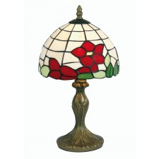 Tiffany Table Lamp - Red Flower 8""