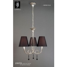 Paola Pendant 3 Light Silver Leaf
