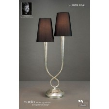 Paola Table Lamp 2 Light Silver Leaf