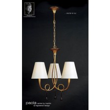 Paola Pendant 3 Light Gold Leaf