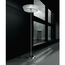 Parigi Floor Lamp - 1 Light, Chrome, White Shade