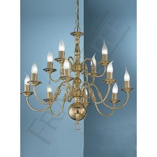 Franklite Delft Double Tier Ceiling Light - 12 Light, Polished Brass