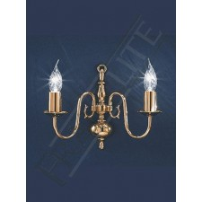 Franklite Delft Wall Bracket - 2 Light, Polished Brass