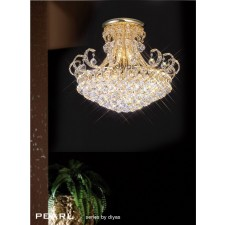Diyas Pearl Ceiling 12 Light Round Gold Plated/Crystal