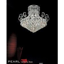 Diyas Pearl Ceiling 12 Light Round Polished Chrome/Crystal