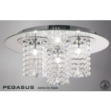 Diyas Pegasus Ceiling 3 Light Polished Chrome/Crystal