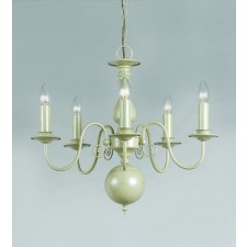 Impex Bologna Chandelier Cream - 5 Light, Cream