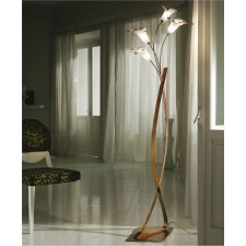Cervinia Floor Lamp - 4 Light, Antique Brown, Amber Glass