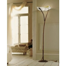 Atene Floor Lamp - 1 Light, Antique Brown, Amber Glass