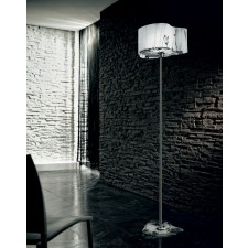 Venezia Floor Lamp - 1 Light, Polished Chrome, White and Black Glass