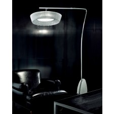 Parigi Overhead Floor Lamp - 1 Light, Brushed Steel, White Shade