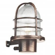 Pier Caged Antique Copper Wall Light IP64