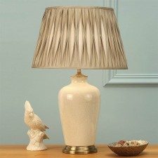 Interiors1900 Ryhall Large Table Lamp Ivory, Beige Pinch Pleated Shade