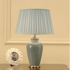 Interiors1900 Ryhall Small Table Lamp, Duck Egg Blue Shade