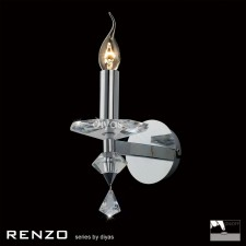 Diyas Renzo Wall Lamp 1 Light Polished Chrome/Crystal