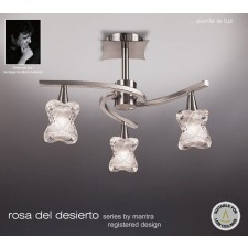Rosa Del Desierto Semi Ceiling 3 Lights Satin Nickel